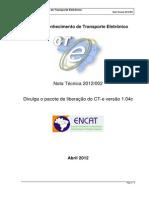 CTe Nota Tecnica 2012 002