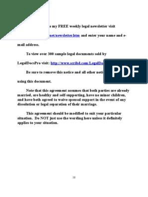Sample Postnuptial Agreement For California Alimony Husband