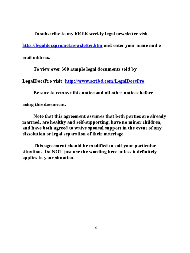 Sample postnuptial agreement for california alimony husband platinumwayz