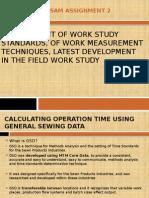 Development of Work Study Standards, Of Work