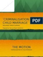Child Marriage Motion Summary