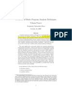 A Survey of Static Program Analysis Techniques