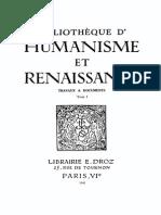 Bibliotheque d'Humanisme Et Renaissance Tome i - 1941