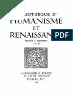Bibliotheque d'Humanisme Et Renaissance Tome IV - 1944