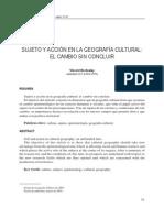 Sujeto y Acción en La Geografía Cultural