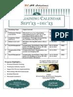 Training Calendar Sept'13_Dec'13