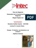 EL ABORTO ensayo de elementos Marlenis Guillen.docx