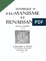 Bibliotheque d'Humanisme Et Renaissance Tome Viii - 1946