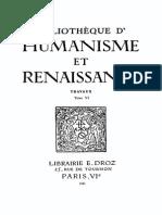 Bibliotheque d'Humanisme Et Renaissance Tome Vi - 1945