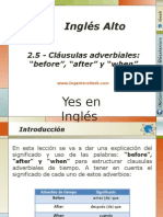 "2.5.- Significado y Usos de Las Clausulas Adverbiales ""Before"", ""After"" y ""When"""
