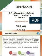 """2.8.- Clausulas Relativas de Sujeto. Ejemplos Con """"Who"""", """"Which"""" y """"That"""""""