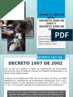 Decreto 1607 de 2002, Decreto 2090 de 2003 y Decreto 2566 de 2009