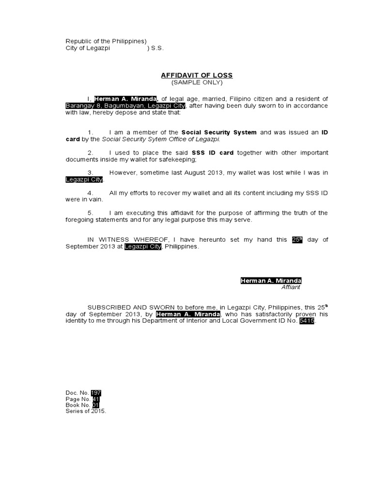 Affidavit of loss sss id sample spiritdancerdesigns Image collections