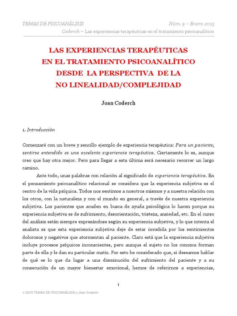 Las Experiencias Terapéuticas en El Tratamiento Psicoanalítico Desde ...