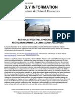 Net House Vegetable Production - Pest Management Successes & Challenges; Gardening Guidebook for Alabama