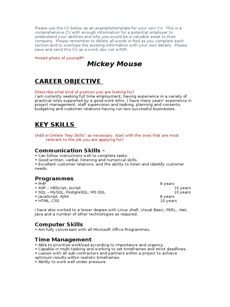 Resume for mickey mouse sample cover letter resume physical therapist