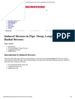 Induced Stresses in Pipe- Hoop, Longitudinal and Radial Stresses