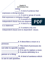 English VI 3rd Periodical Test