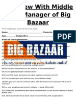 Sample Questionnaire with Manager of Big Bazaar With Middle Level Manager of Big Bazaar