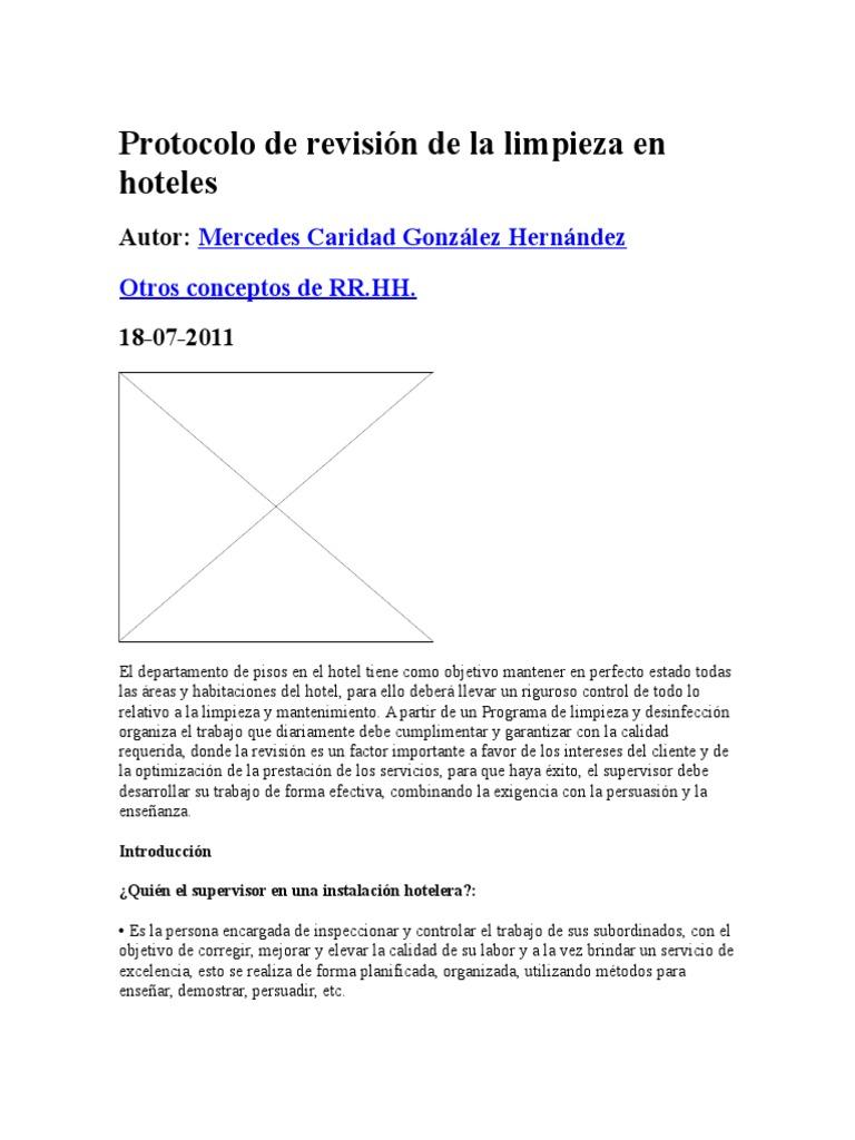 Protocolo de Revisión de La Limpieza en Hoteles