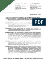 Résolution appui aux Algonquins de Barriere Lake (French)