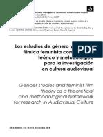 Los estudios de género y la teoría fílmica feminista como marco teórico y metodológico  para la investigación  en cultura audiovisual