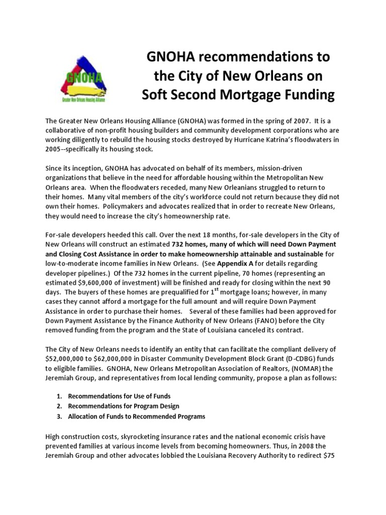 New Orleans Soft Second Mortgage Funding   Mortgage Loan