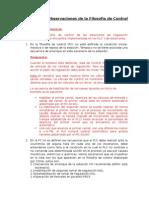 Observaciones de La Filosofía de Control PRS3