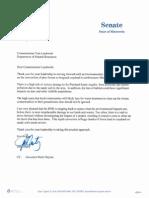 Sen. Marty letter to Commissioner Landwehr