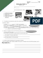 ENGLISH TEST 1 Primeros Medios 2014