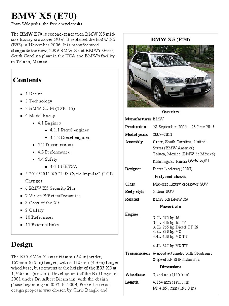 Bmw X5 E70 Wikipedia The Free Encyclopedia Luxury Motor