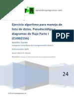 208_CU00219A Ejercicio Ejemplo Algoritmo Operaciones Lista Datos Pseudocodigo I