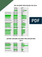 Revisi Jadwal Magang Selamat Pagi Feb-mar 2015