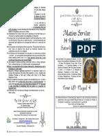 2015 - 14 Feb-Soul Sat-Matins SERVICE