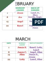 Praise and Worship Schedule