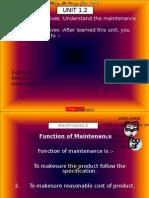 Ch 1.2 - Maintenance Function