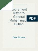 Retirement Letter to General Muhammadu Buhari