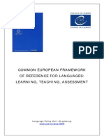 Consiglio d'Europa - Common European Framework of Reference for Languages (CEFR). Learning, Teaching, Assessment
