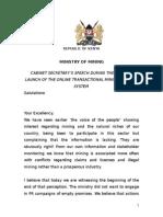 Cabinet Secretary Hon Najib Balala Speech  - Cadastre