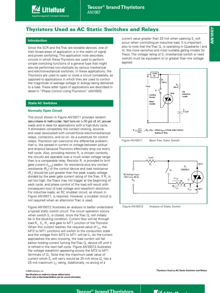 Thyristors Used As Ac Static Switches And Relays Switch Relay Basic Snubber Circuit With A Triac