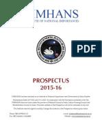 NIMHANS Prospectus 2015-16