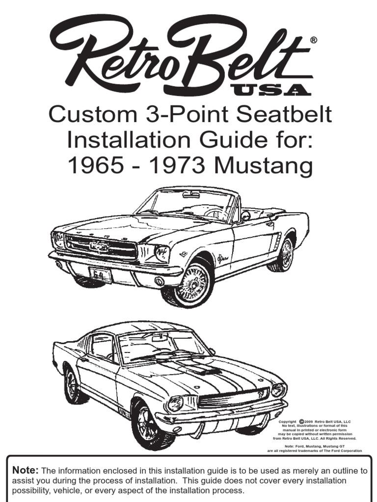 retrobelt mustang instructions 090908 final seat belt screw 1970 Mustang Cars