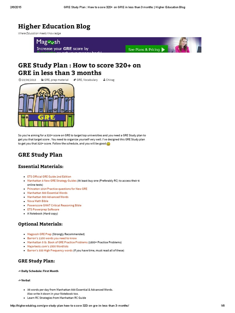 GRE Study Plan _ How to score 320+ on GRE in less than 3 months _ Higher  Education Blog | Graduate Record Examinations | Graduate Management  Admission Test