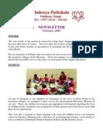 Maitreya Pathshala Waldorf Inspired School and Worldganic Biodynamic Farm 'Newsletters' Feb 2015