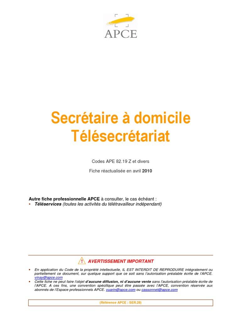Fiche APCE Ser 10 - Secretaire a Domicile - Telesecretariat.10
