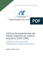 Subsiriaridad en el sistema educativo argentino 1955 1990
