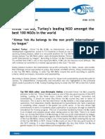 Kimse Yok Mu, Turkey's leading NGO amongst the best 100 NGOs in the world