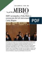 05-02-2015 Diario Matutino Cambio de Puebla - RMV Acompaña a Peña Nieto a Ceremonia Del 98 Aniversario de La Carta Magna