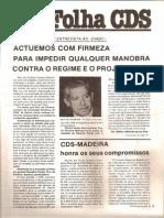 Folha CDS, nº 276 - 10 de Fevereiro de 1982