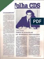 Folha CDS, nº 274 - 27 de Janeiro de 1982